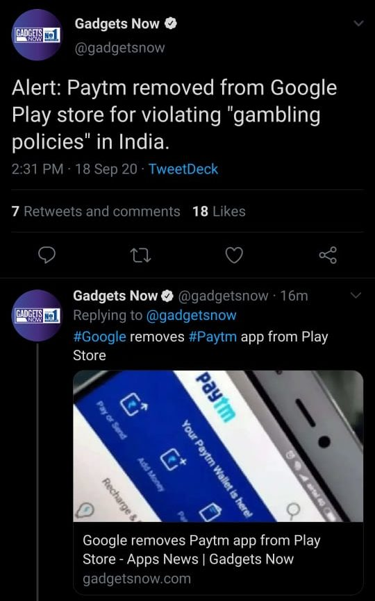 Google removes the Paytm app from the Play Store